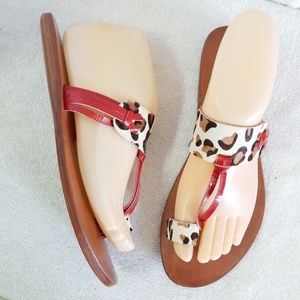 New Luichiny leopard pony hair red leather sandals